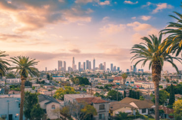 A skyline of los angeles with new restaurants in 2021.